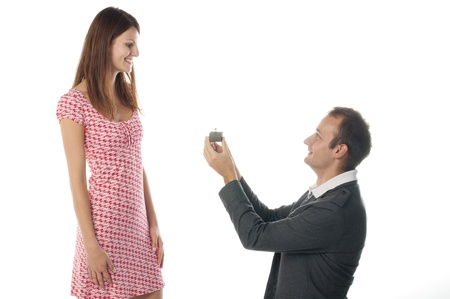 propose: Proposal scene with happy woman and man.