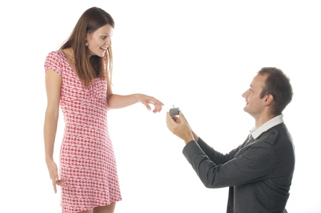 Proposal scene with happy woman and man. photo