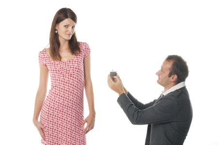 propose: Proposal scene with sad woman and man.