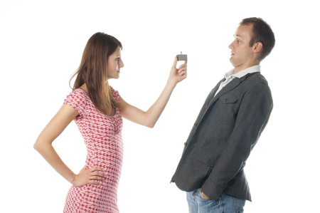 Proposal scene with happy woman and sad man. Stock Photo - 16378424