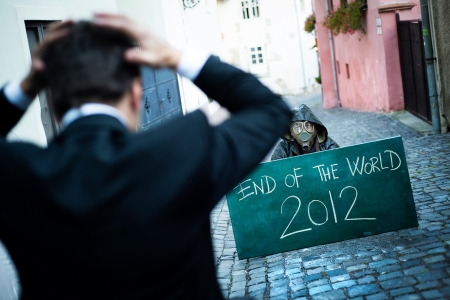 Business man is scared of the end of the world Stock Photo - 16436957