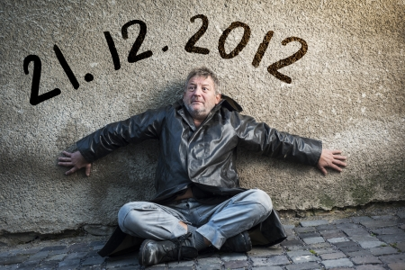 Man is waiting for end of the world. photo