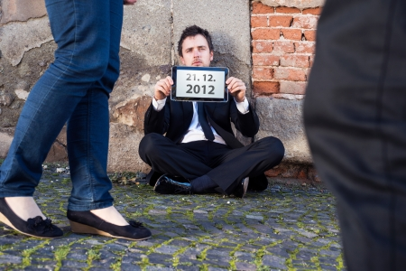 Man is waiting for end of the world. Stock Photo - 16436948