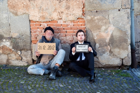 Men are waiting for end of the world. Stock Photo - 16436857