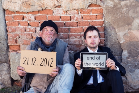 Men are waiting for end of the world. photo