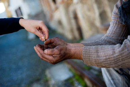 homelessness: Begging hands