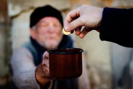 giving hand: Begging hands