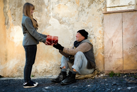 Christmas gift for homeless man Stock Photo - 16436852