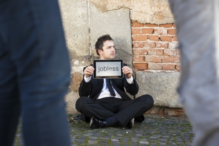 jobless: Jobless manager is on the street. Stock Photo