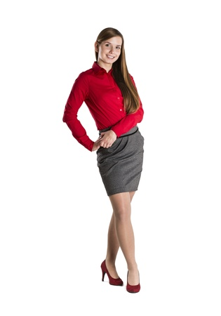 Successful business woman is standing on isolated background. Stock Photo - 16489597