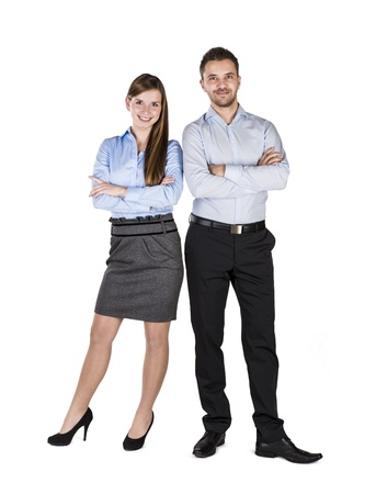 young executives: Successful business couple is standing on isolated background.