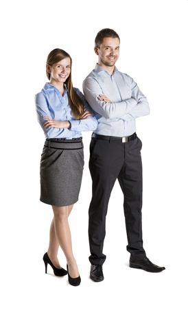 Successful business couple is standing on isolated background. Stock Photo - 16569663
