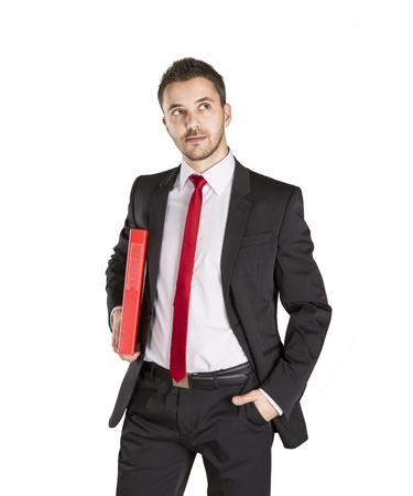 Successful business man is standing on isolated white background Stock Photo - 16562775