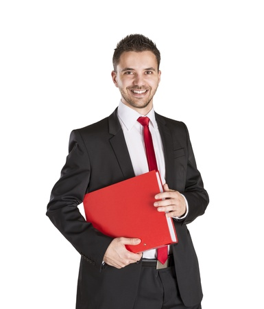 Successful business man is standing on isolated white background Stock Photo - 16569719