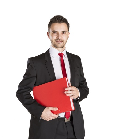 Successful business man is standing on isolated white background Stock Photo - 16570842