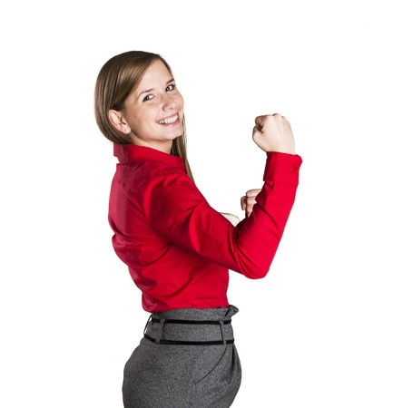 Successful business woman is standing on isolated background. Stock Photo - 16570832