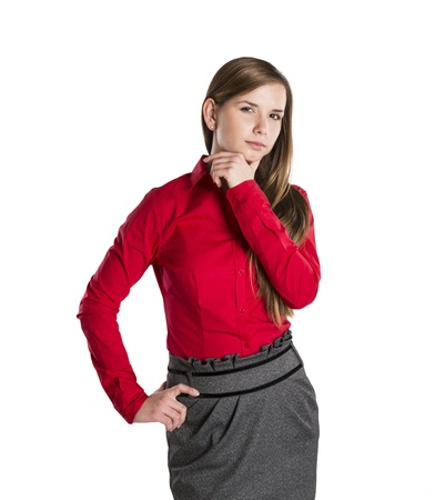 Successful business woman is standing on isolated background. Stock Photo - 16569449