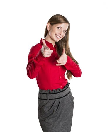 Successful business woman is standing on isolated background. Stock Photo - 16569438