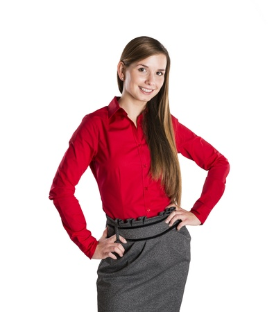 Successful business woman is standing on isolated background. Stock Photo - 16569463