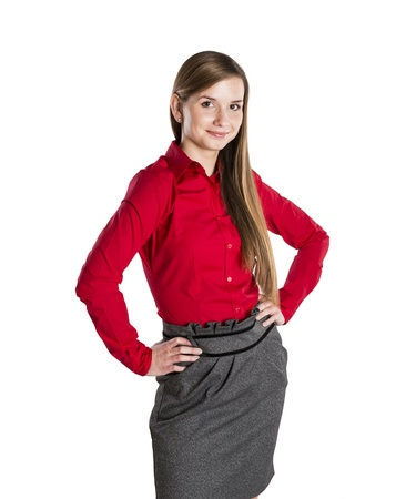 Successful business woman is standing on isolated background. Stock Photo - 16569466
