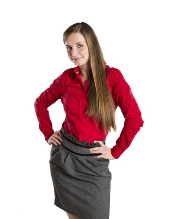 Successful business woman is standing on isolated background. Stock Photo - 16568036