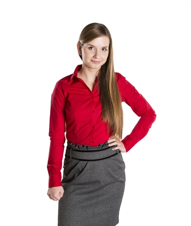 Successful business woman is standing on isolated background. Stock Photo - 16569472