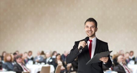 Man is speaking on indoor business conference for managers  Stock Photo