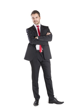 elegant business man: Successful business manager is standing on isolated white background