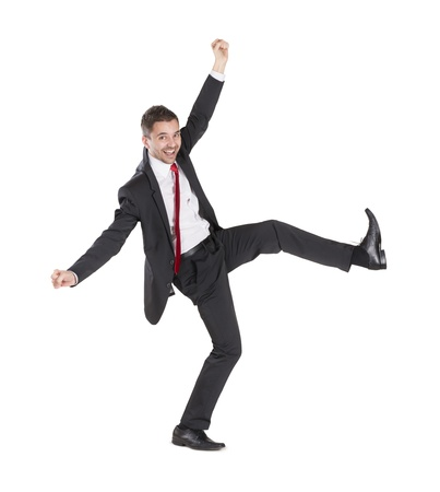 Happy business manager is standing on isolated white background photo