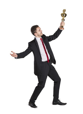 Successful business man is celebrating success on isolated white background Stock Photo - 16637688