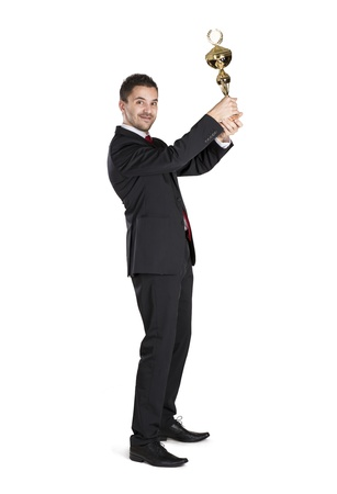 Successful business man is celebrating success on isolated white background Stock Photo - 16637681