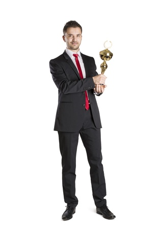 Successful business man is celebrating success on isolated white background Stock Photo - 16637690