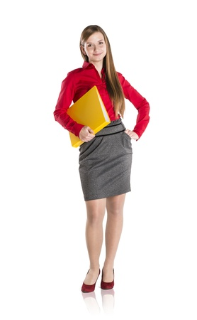 Successful business woman is standing with file folder on isolated background Stock Photo - 16715488