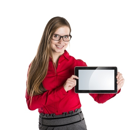 Young beautiful girl with pc tablet on white isolated background. Stock Photo - 16733290