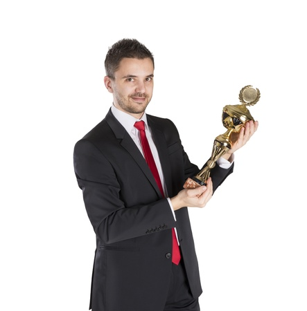 Successful business man is celebrating success on isolated white background Stock Photo - 16800873