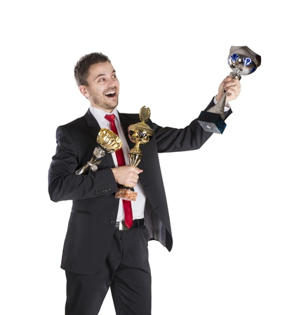 Successful business man is celebrating success on isolated white background Stock Photo - 16800874