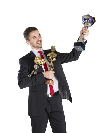 Successful business man is celebrating success on isolated white background Stock Photo - 16800872