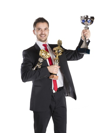 Successful business man is celebrating success on isolated white background Stock Photo - 16800876