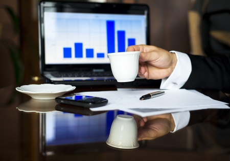 Coffee break during long office hours Stock Photo - 16847192