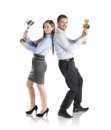 Successful business man and woman are celebrating on isolated white background Stock Photo - 16880955