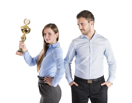 Successful business man and woman are celebrating on isolated white background Stock Photo - 16880960
