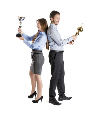 Successful business man and woman are celebrating on isolated white background Stock Photo - 16880956