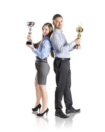 Successful business man and woman are celebrating on isolated white background photo