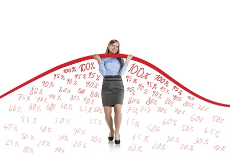 Business woman is trying to increase market statistics. Stock Photo - 17109607