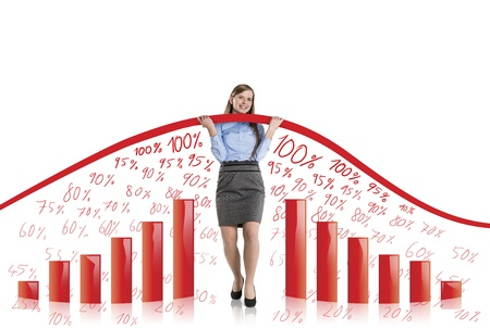 Business woman is trying to increase market statistics. photo