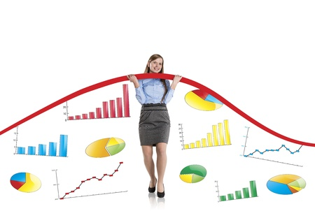 Business woman is trying to increase market statistics. Stock Photo - 17109596
