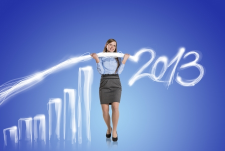 Business woman is trying to increase market statistics  photo