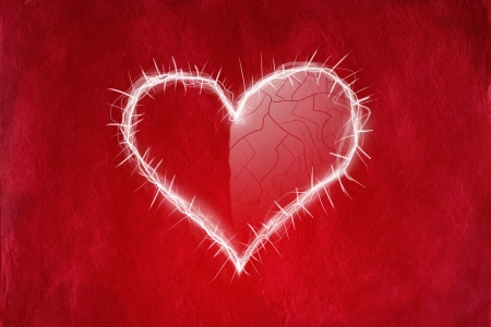 Love concept with heart on red abstract background Stock Photo - 17322925