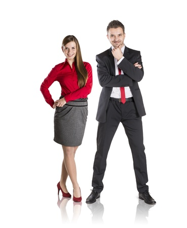 Successful business couple is standing on isolated background. Stock Photo - 17593767