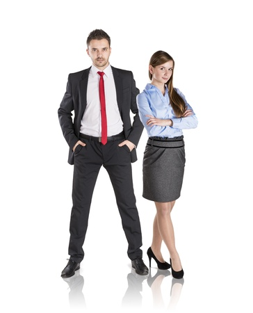 Successful business couple is standing on isolated background. Stock Photo - 17593769
